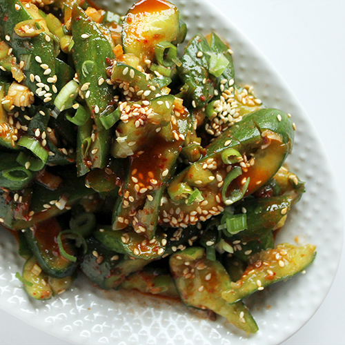 smashed cucumber salad gochujang dressing 500x500