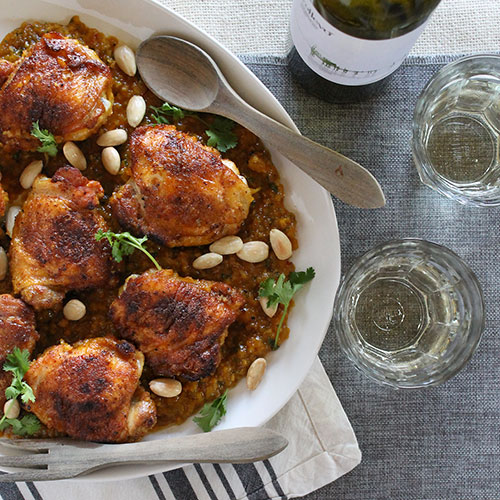 Braised Chicken Thighs with Almonds & Honey
